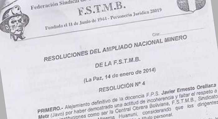 """Ante la resolución N°4 del ampliado de la FSTMB de """"alejamiento definitivo"""" de su fuente laboral al compañero Javo: ¡Alto a la persecución política!"""