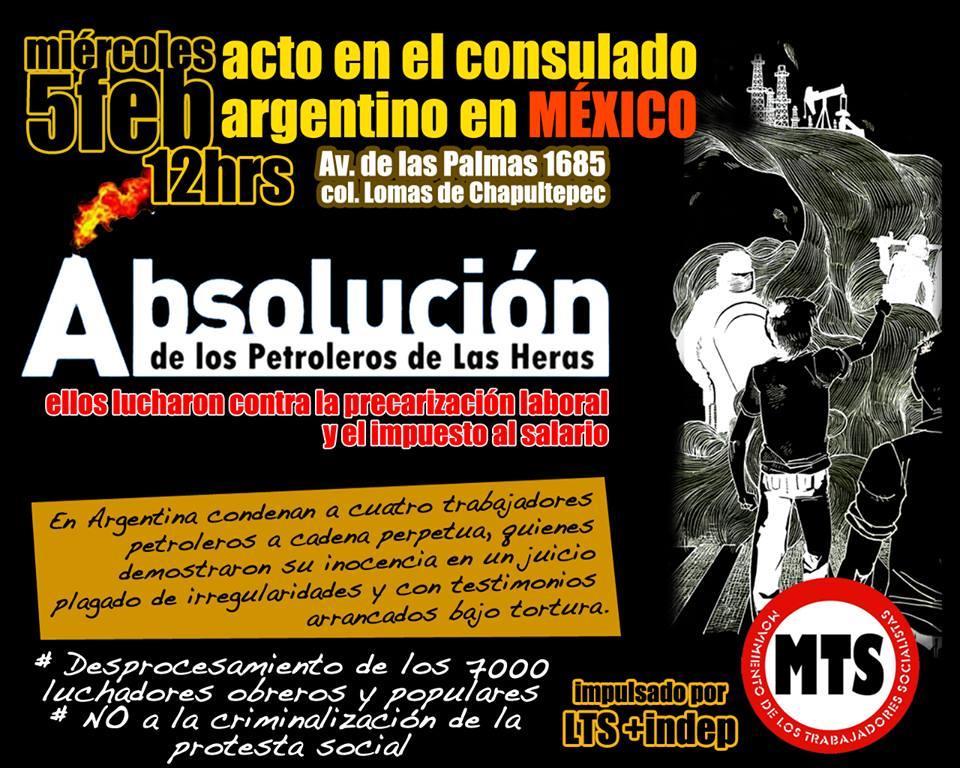 Mitin por la absolución de los trabajadores petroleros de Las Heras, Argentina