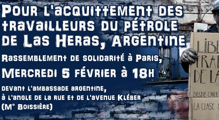 Pour l'acquittement des travailleurs du pétrole de Las Heras, Argentine