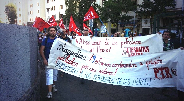 Mitin por la absolución de los trabajadores petroleros de Las Heras en el Consulado de Argentina