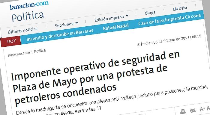 Imponente operativo de seguridad en Plaza de Mayo por una protesta de petroleros condenados