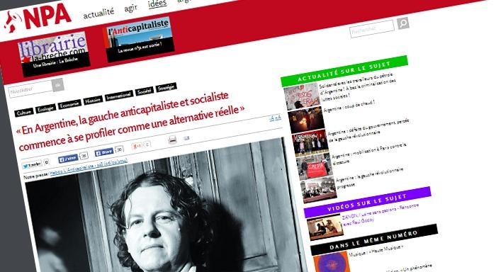 Entrevista a Christian Castillo en L'Anticapitaliste, publicación del NPA de Francia