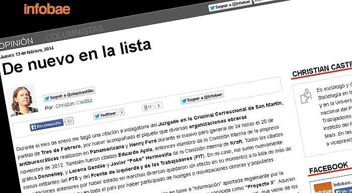 Columna de Christian Castillo: De nuevo en la lista