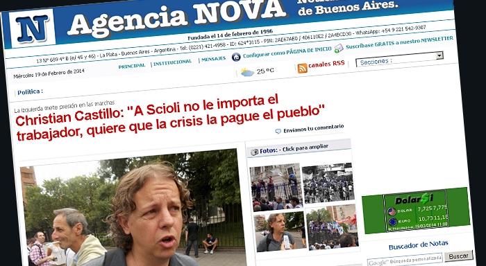 La izquierda mete presión en las marchas: Christian Castillo: