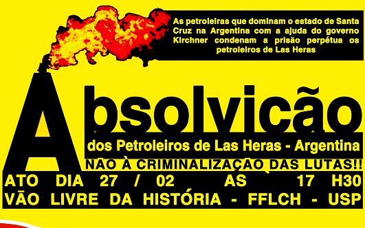 Abaixo-assinado pela absolvição dos petroleiros de Las Heras, Argentina