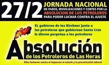 Solidaridad obrera y gran campaña democrática por los petroleros de Las Heras