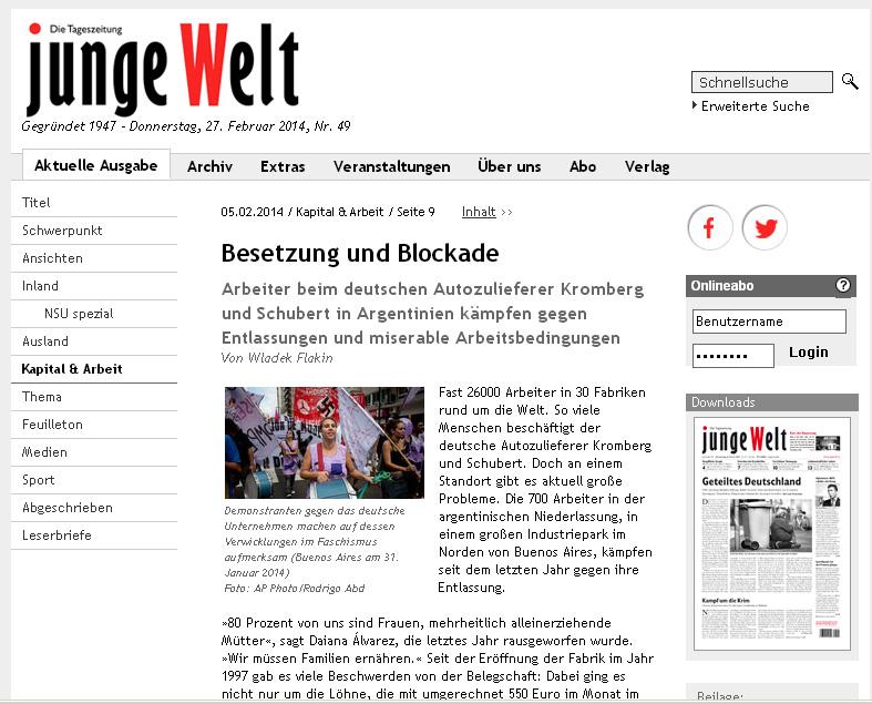 Activa campaña en Alemania en apoyo a la lucha de los trabajadores de Kromberg.