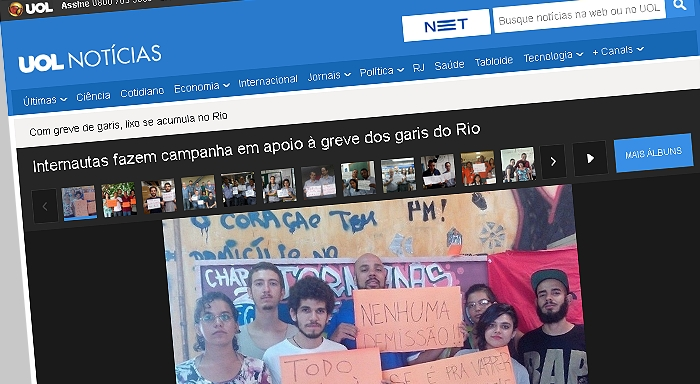Internautas fazem campanha em apoio ã greve dos garis do Rio