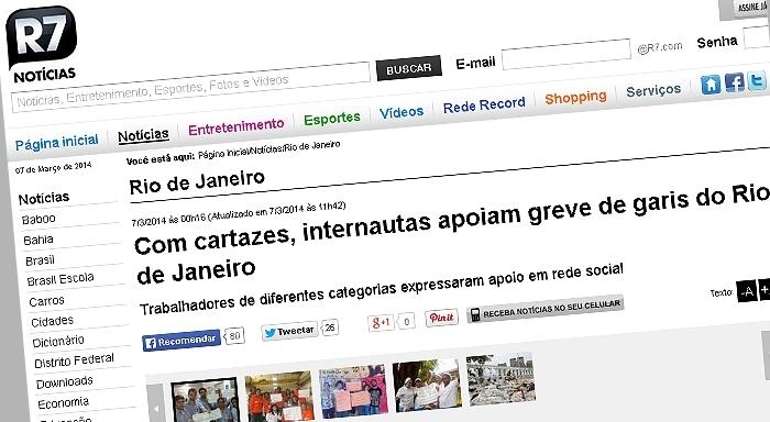Com cartazes, internautas apoiam greve de garis do Rio de Janeiro