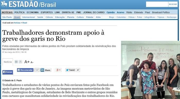 Trabalhadores demonstram apoio ã greve dos garis no Rio