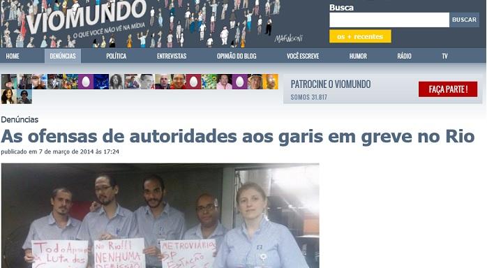As ofensas de autoridades aos garis em greve no Rio