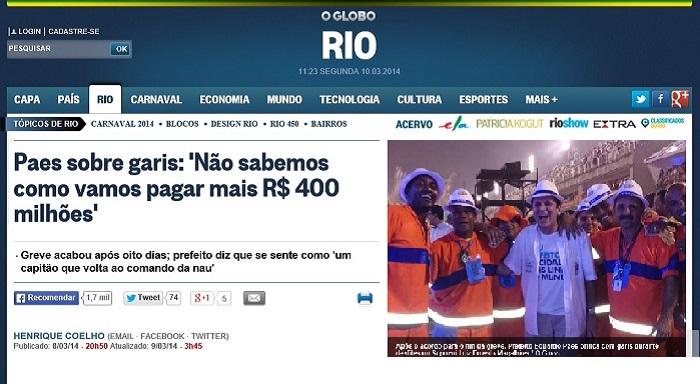 Paes sobre garis: 'Não sabemos como vamos pagar mais R$ 400 milhões'