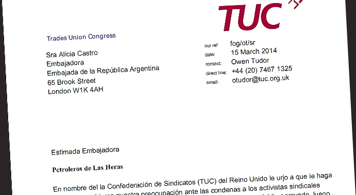 British TUC General Secretary sends letter to the Argentina Ambassador in London