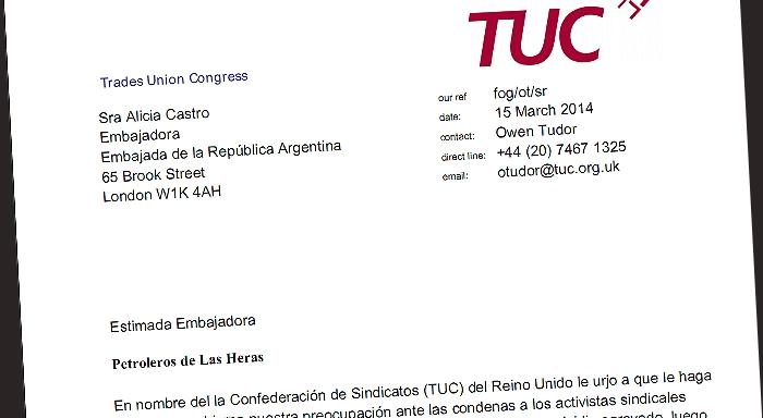 Confederación Sindical envía carta a la embajadora argentina