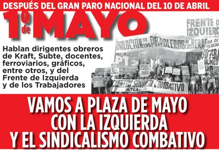 de Mayo: Con la izquierda y el sindicalismo combativo