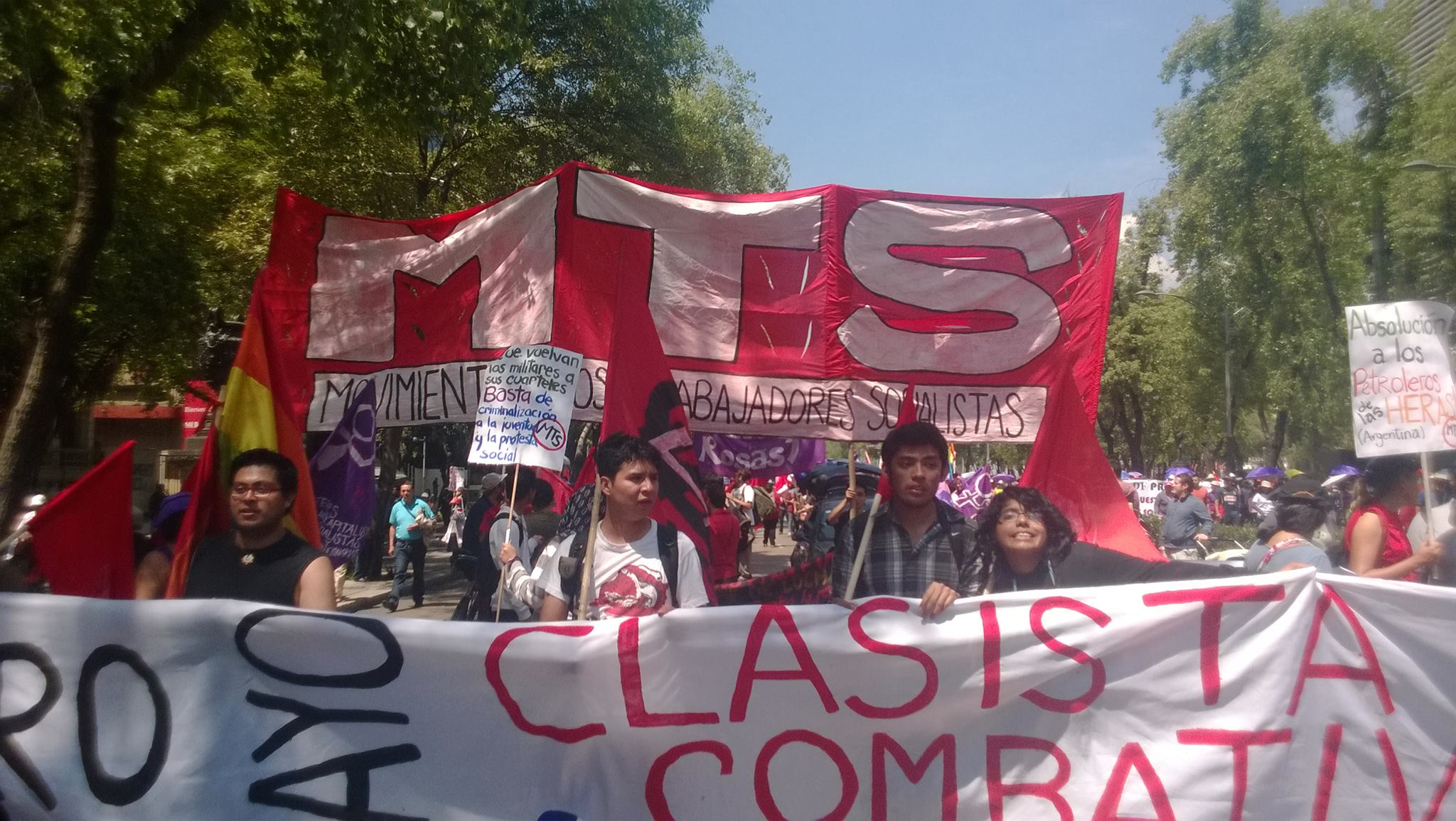 El Movimiento de Trabajadores Socialistas se moviliza con la Nueva Central de Trabajadores y el combativo magisterio