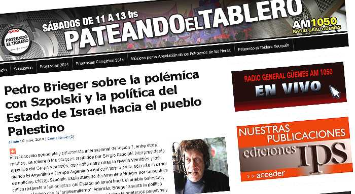 Argentina | Pedro Brieger sobre la polémica con Szpolski y la política del Estado de Israel hacia el pueblo Palestino