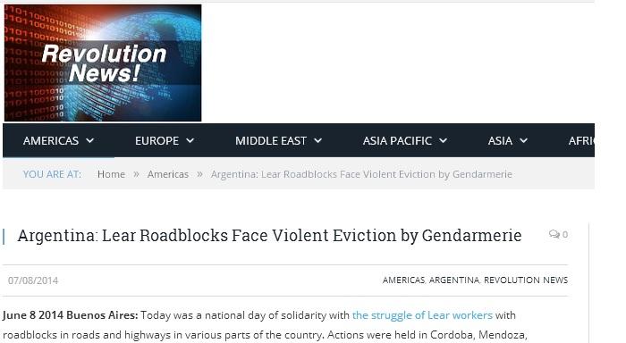 Argentina: Lear Roadblocks Face Violent Eviction by Gendarmerie