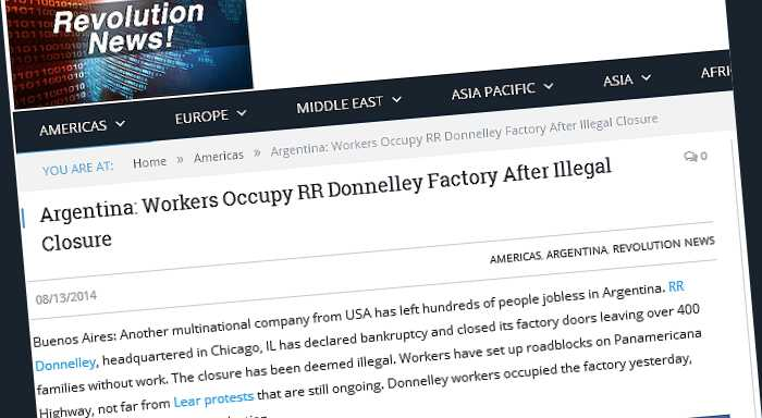 Argentina: Workers Occupy RR Donnelley Factory After Illegal Closure