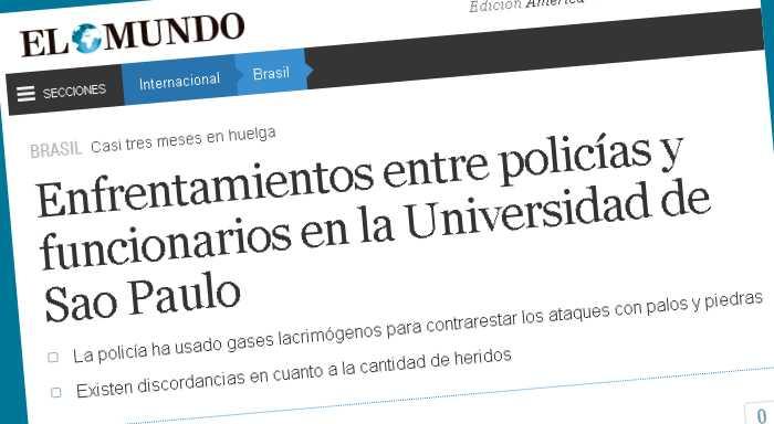 Enfrentamientos entre policías y funcionarios en la Universidad de Sao Paulo