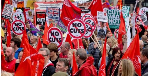 Masivas marcha contra los recortes en Londres, Belfast y Glasgow