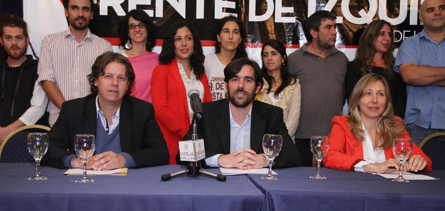 Se presentaron precandidatos del PTS en el Frente de Izquierda: Nicolás del Caño, Christian Castillo y Myriam Bregman