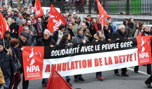 Solidaridad con Grecia en Francia, por la anulación de la deuda
