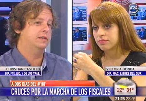 Christian Castillo en A24: debate con Victoria Donda sobre el 18F