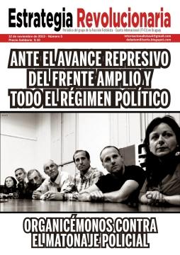 """Grupo de la FT-CI (Uruguay) Uruguay Grupo de la FT-CI Estrategia Revolucionaria   El año que termina estuvo signado por la mayor conflicti-vidad laboral en más de 15 años. Si bien finalmente la mayoría de los grupos en la negociación sa-larial parecen llegar a un acuerdo (aún falta cerrar metalúrgicos y otros menos importantes), los mismos son un buen final para el gobierno, ya que, gracias a sus maniobras (y las de la burocracia sindical) pudieron encausar la discusión dentro de los marcos del tope salarial estipulado por el Poder Ejecutivo, utilizando la movilización controlada en los marcos salariales como factor de presión ante las patronales más duras que pujaban por el """"0%"""" de aumento. Entre la lucha de clases, la represión, y las discusiones de los de arriba Construyamos una alternativa revolucionaria para los trabajadores y la juventud"""